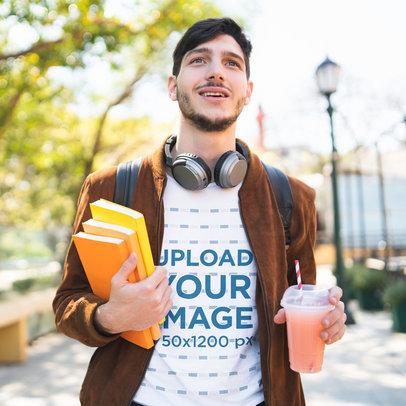 T-Shirt Mockup of a Man Looking Happy to Go Back to School 39957-r-el2