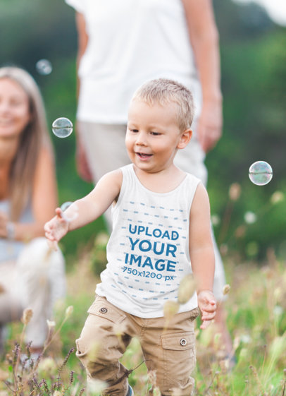 Heathered Tank Top Mockup of a Little Boy Chasing a Bubble 34434-r-el2