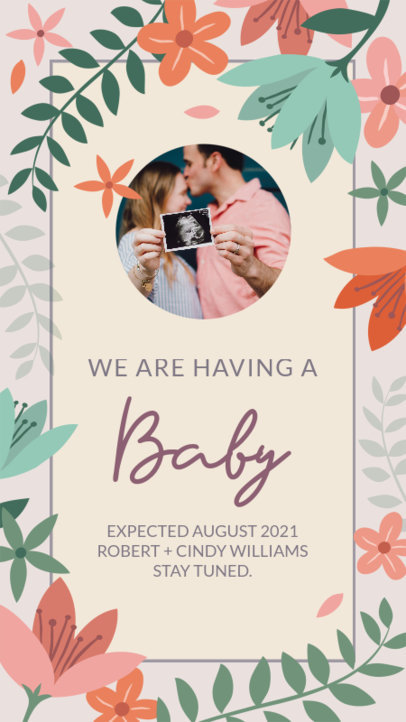 Instagram Story Design Template for a Pregnancy Announcement with a Floral Frame 3400