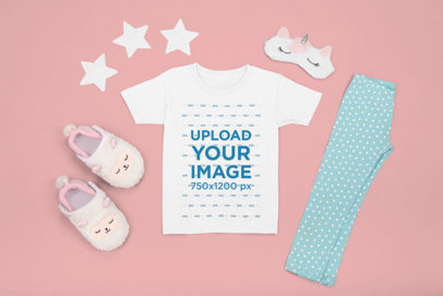 T-Shirt Mockup Featuring a Pajama Outfit for Kids m1266