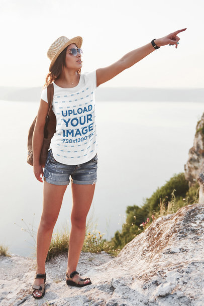 T-Shirt Mockup of a Woman Pointing at Something While at the Mountains 44737-r-el2