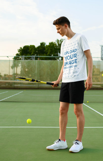 T-Shirt Mockup of a Man Playing Tennis 45787-r-el2