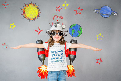T-Shirt Mockup of a Playful Girl with a Handmade Jetpack 43083-r-el2