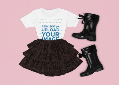 T-Shirt Mockup Featuring a Girl's Party Outfit m1299