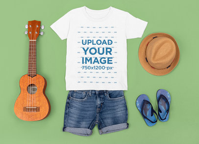 T-Shirt Mockup Featuring a Summer Outfit for Children M1286
