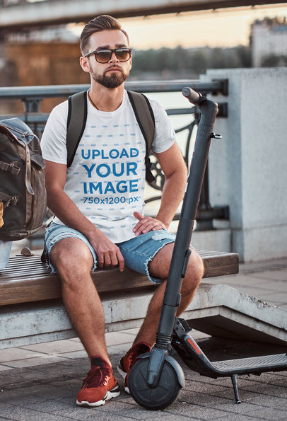 T-Shirt Mockup of a Bearded Man with a Trendy Hairstyle by an Electric Scooter 42042-r-el2