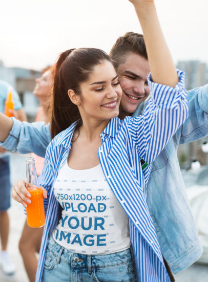Tank Top Mockup Featuring a Woman Dancing At a Rooftop Party 41486-r-el2