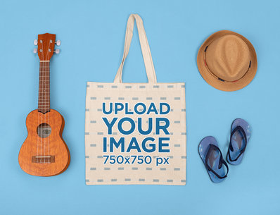 Mockup of a Tote Bag Featuring a Musician Kid's Items M1297