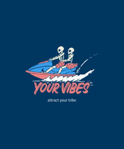 Illustrated T-Shirt Design Maker Featuring Two Happy Skeletons on a Jet Ski 3559e-el1