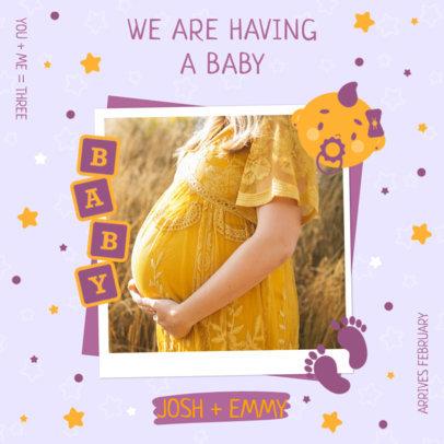Instagram Post Design Template Featuring a Pregnancy Announcement 3404a