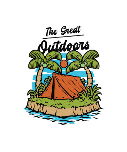 Illustrated T-Shirt Design Creator Featuring a Tent on an Island 3555c-el1