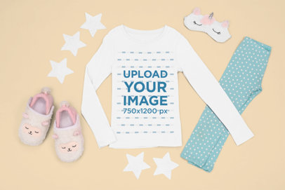 Long Sleeve Tee Mockup Featuring a Girl's Pajama Outfit m1269