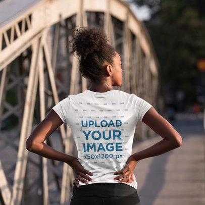 Back-View T-Shirt Mockup of a Woman Ready for a Jog 40940-r-el2