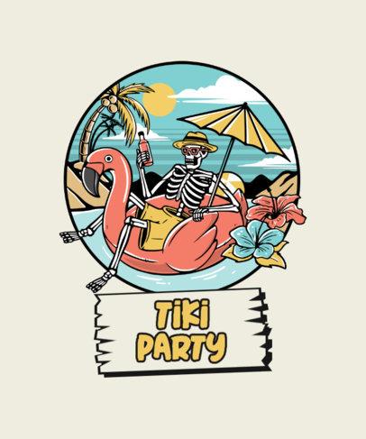T-Shirt Design Template Featuring Skeletons Enjoying Summer 3551-el1