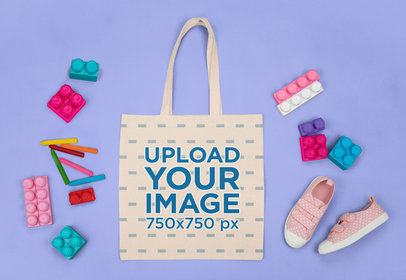 Tote Bag Mockup Featuring Block Toys for Kids m1285