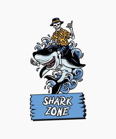 Fun T-Shirt Design Creator Featuring a Skeleton Riding a Shark 3551d-el1