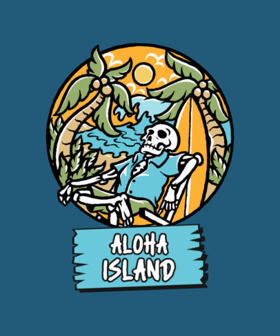 Hawaiian-Themed T-Shirt Design Creator with a Skeleton Graphic 3551f-el1