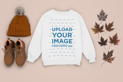 Sweatshirt Mockup Featuring an Autumn-Themed Outfit m1273