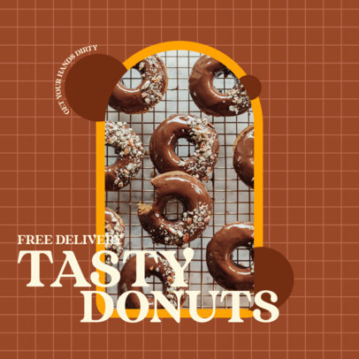 Donut-Themed Instagram Post Maker Promoting a Food Delivery Service 3544e-el1