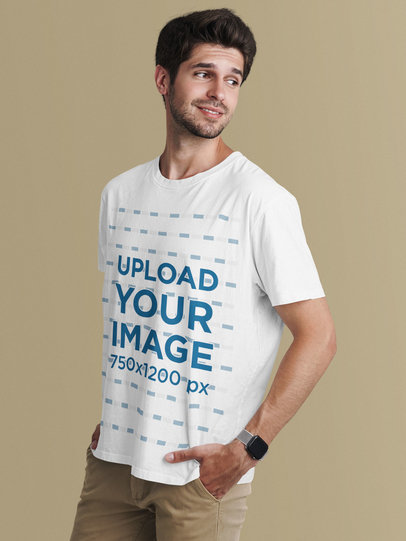 T-Shirt Mockup of a Relaxed Man Posing in a Studio 41289-r-el2