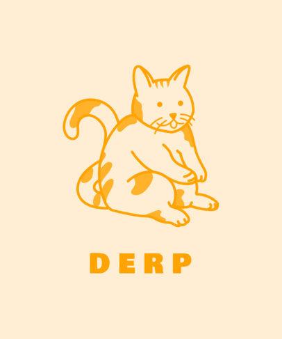 T-Shirt Design Template with an Illustration of a Derp Cat 3408d