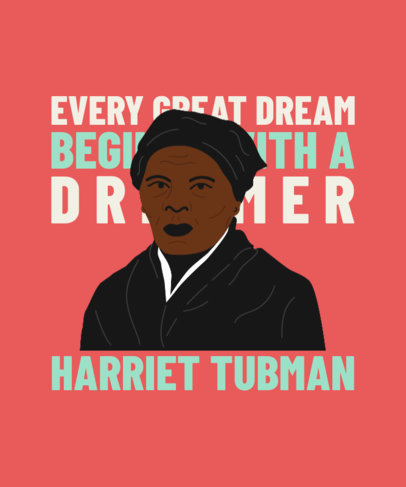 T-Shirt Design Generator for Black History Month Featuring a Quote and an Illustrated Portrait 3409e