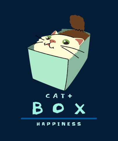 Illustrated T-Shirt Design Maker Featuring a Silly Cat in a Box 3407a