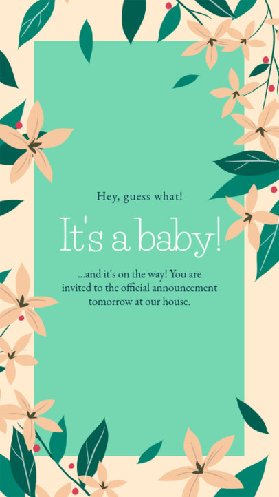 Flower-Themed Instagram Story Creator to Announce a Pregnancy 3400e