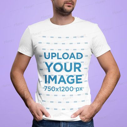 T-Shirt Mockup of a Bearded Man Standing Against a Customizable Backdrop m1457-r-el2