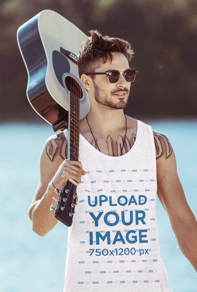 Heather Tank Top Mockup Featuring a Man With a Guitar Walking by a Lake 43901-r-el2