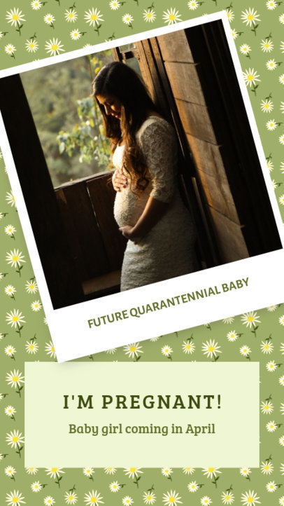 Instagram Story Template with a Maternity Theme and a Polaroid Frame 3401g
