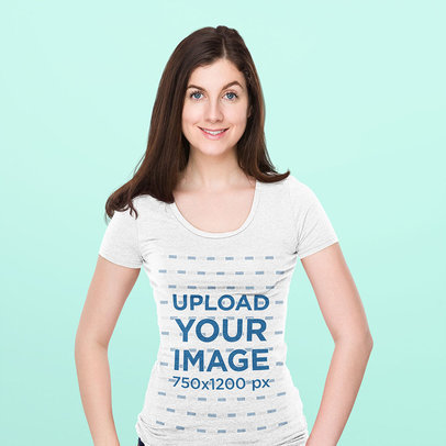 Scoop-Neck T-Shirt Mockup of a Woman Posing Against a Plain Background 46670-r-el2