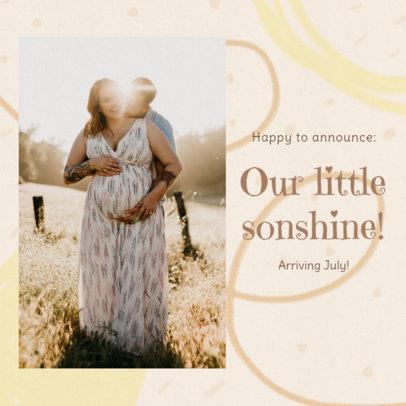 Instagram Post Design Template for a Pregnancy Reveal Featuring a Pastel Color Scheme 3403d