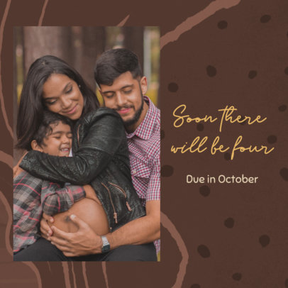 Instagram Post Maker for a Pregnancy Reveal Featuring a Happy Family Picture 3403f