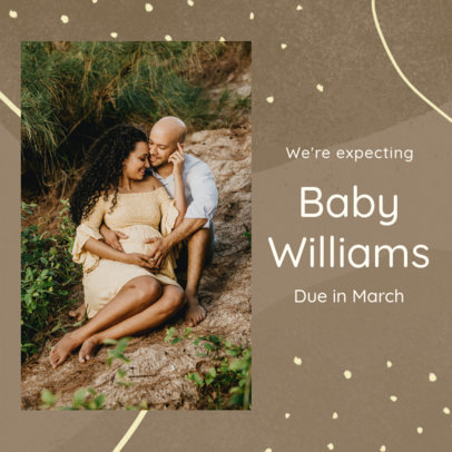 Instagram Post Template for a Pregnancy Announcement Featuring a Picture of an Expecting Couple 3404j