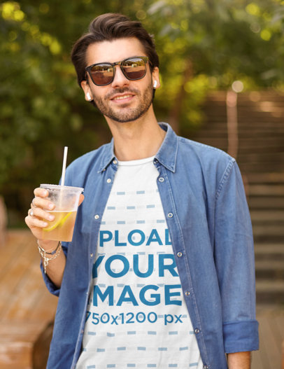 T-Shirt Mockup of a Stylish Man Drinking a Fresh Beverage m1313-r-el2