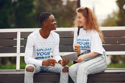 Long Sleeve Tee and T-Shirt Mockup of a Young Couple on a Date 41094-r-el2