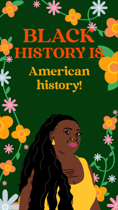 Instagram Story Creator Featuring an Illustrated Woman and a Quote for Black History Month 3413c
