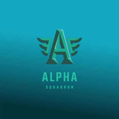 Monogram Logo Creator for a Gaming Team with Wings Graphics 4077e