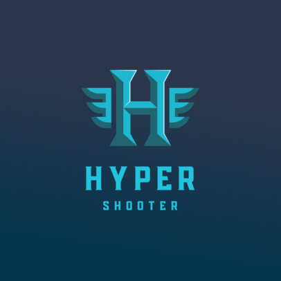Monogram Logo Template for Gamers Featuring Wings Graphics 4077k