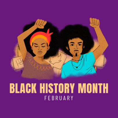 Illustrated Instagram Post Design Template with a Quote to Commemorate Black History Month 3414e