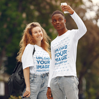 T-Shirt and Long Sleeve Tee Mockup of Two Friends Taking a Selfie 41093-r-el2