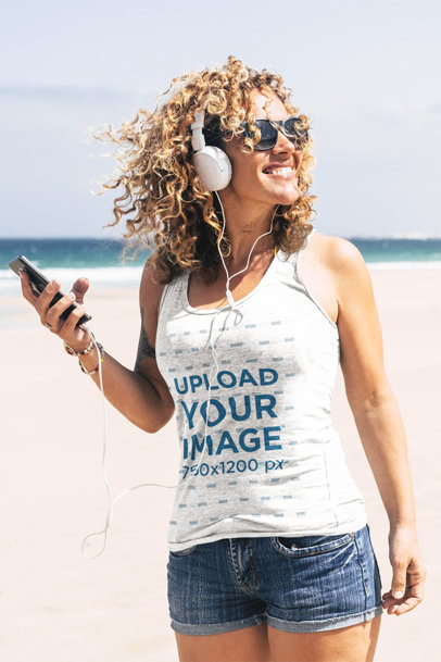 Tank Top Mockup of a Happy Woman Listening to Some Music by the Sea m1342-r-el2