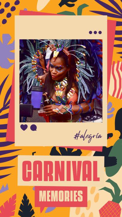 Instagram Story Design Template to Share Brazilian Carnival Photos 3430