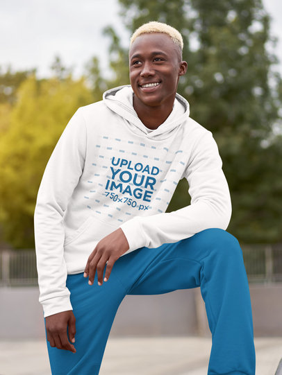 Mockup of a Smiling Young Man Wearing a Pullover Hoodie m1478-r-el2