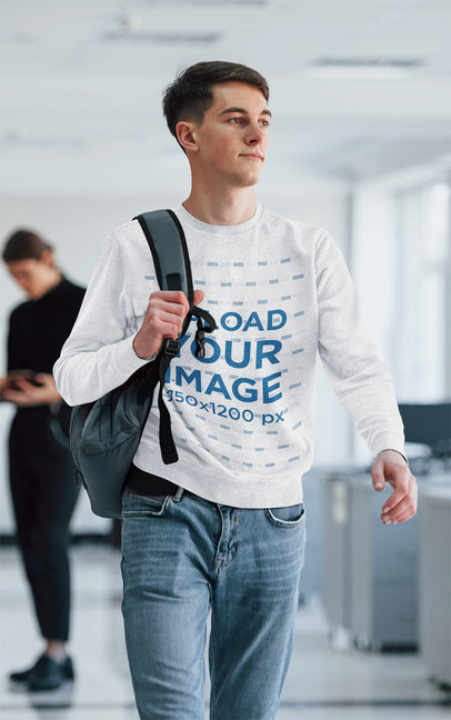 Sweatshirt Mockup Featuring a Man Walking at College m2035-r-el2
