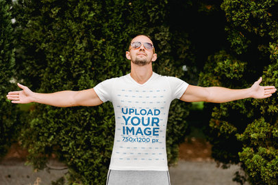 V-Neck Tee Mockup of a Fit Man with Open Arms m1778-r-el2
