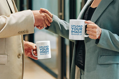 11 oz Coffee Mug Mockup Featuring a Man and a Woman in a Business Meeting m1775-r-el2