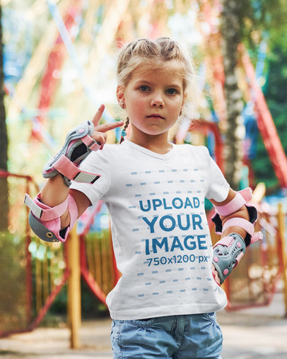 V-Neck Tee Mockup of a Little Girl with a Confident Pose 1439-r-el2
