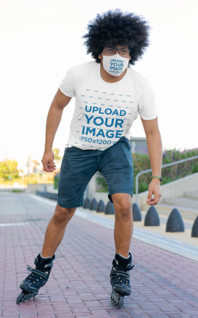 Face Mask Mockup of a Curly-Haired Man Wearing a T-Shirt While Roller Skating m2170-r-el2